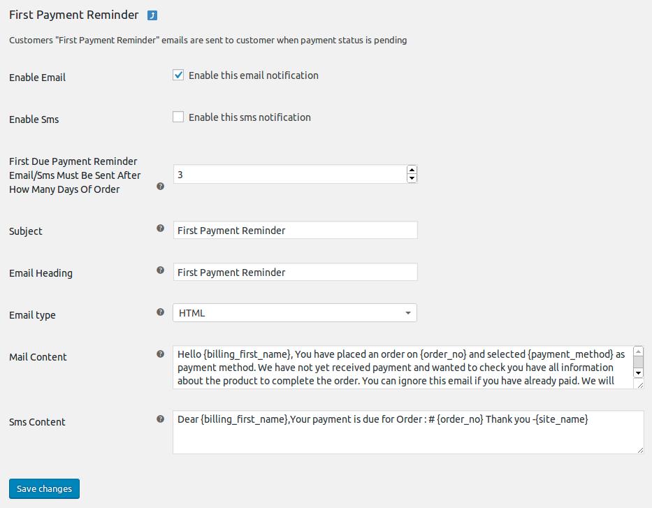 first payment reminder bjvmnv WooCommerce Reminder pro