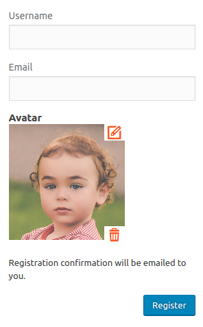 Upload Avatar On Registration Form