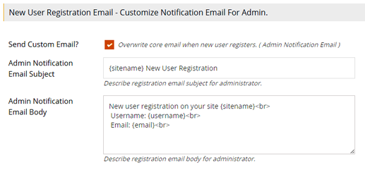 Admin Notification of User Registration