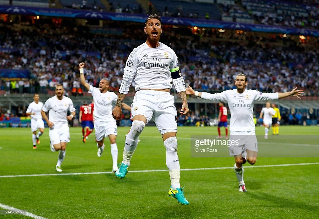 Sergio Ramos celebrating after scoring for 1-0