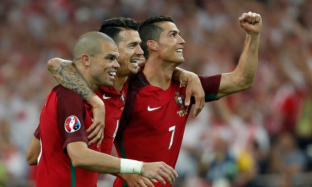 Pepe celebrating after victory over Poland