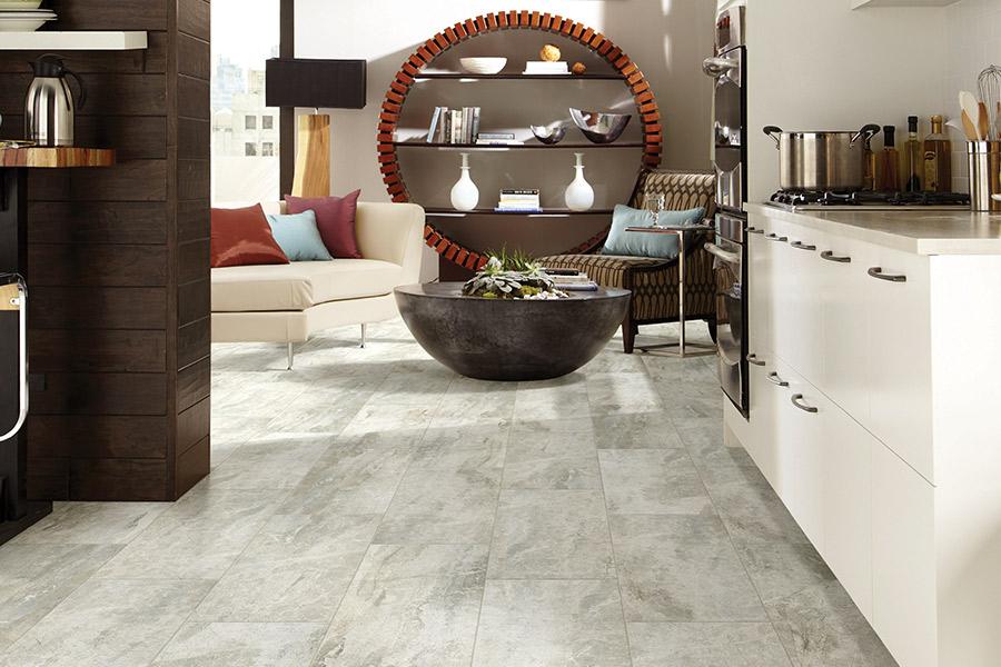 Tile floor installation in