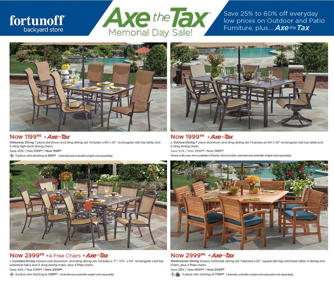 Our commitment to bringing you only the highest quality outdoor furniture  at prices that ... - Axe The Tax Memorial Day Sale! Fortunoff