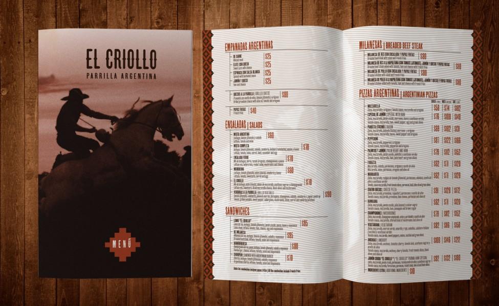 El Criollo - menu