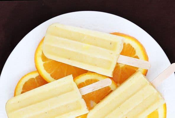 paletas heladas de jugo de naranja