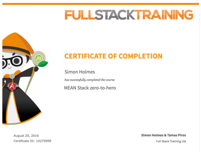 MEAN Stack Certificate
