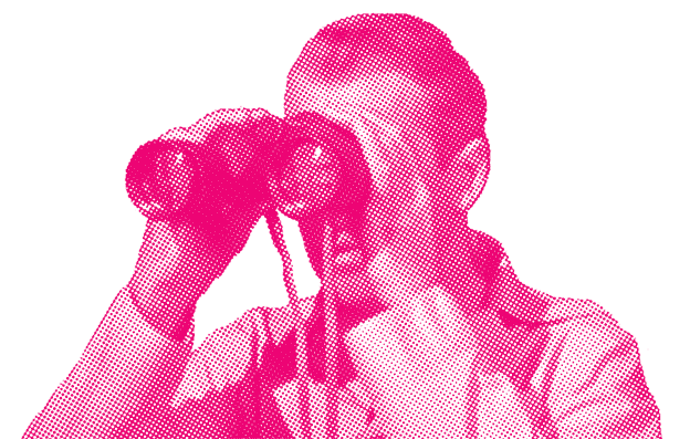 A man with a binoculars