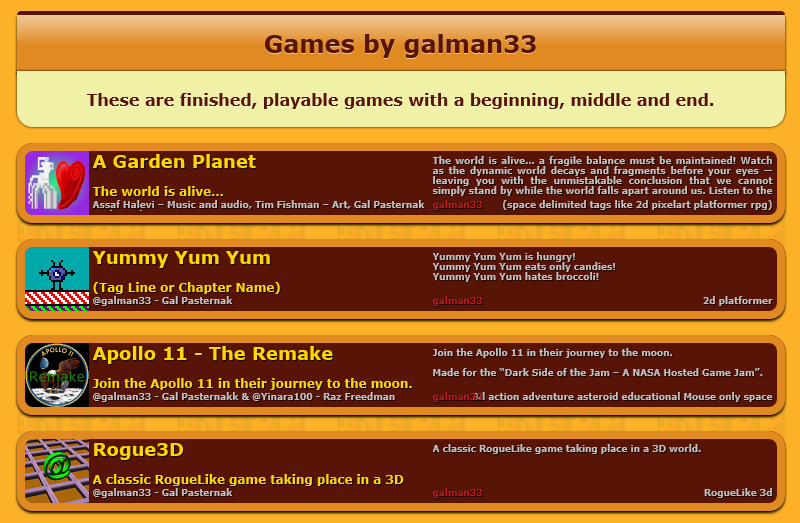 My 1GAM games