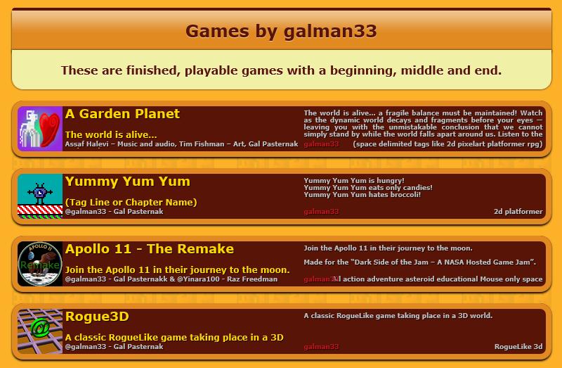 My 1GAM games