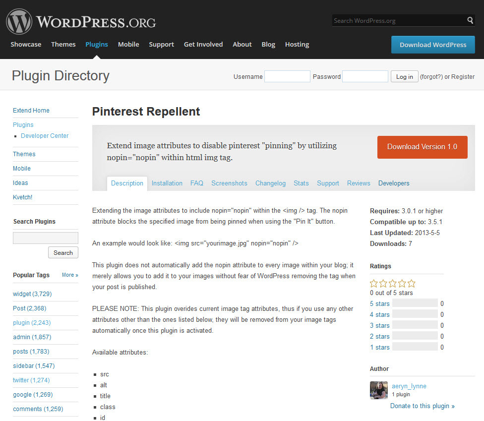 WordPress.org Plugin: Pinterest Repellent