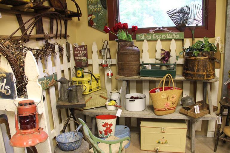 Old Homestead Orchard - Antique Room, Garden Area - Primitive Benches, Rakes, Shovels, Baskets & More