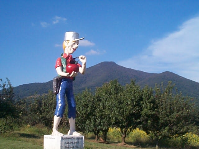 Peaks of Otter Winery & Orchards - Johnny Appleseed looks out over the farm