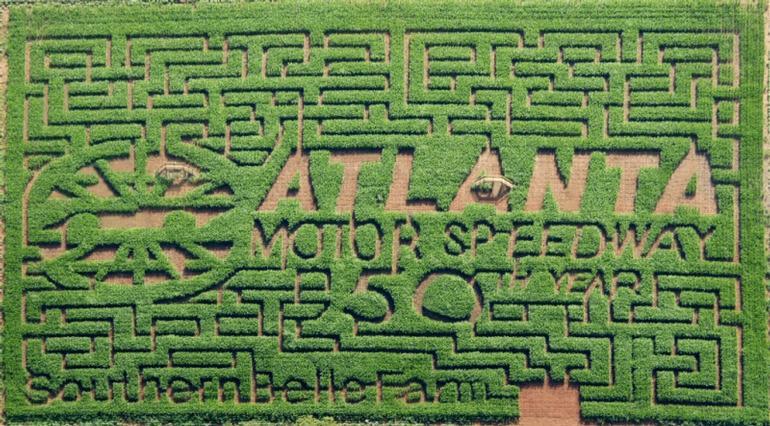 Southern Belle Farm - Our 2009 corn field maze design.  7-acres of beautiful, lush corn!