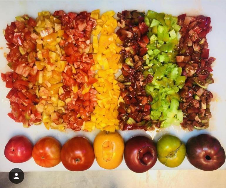 Bella Organic Farm - Colors of the rainbow!! Organic Heirloom Tomatoes