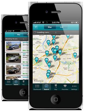 two iPhones running the Getaround app