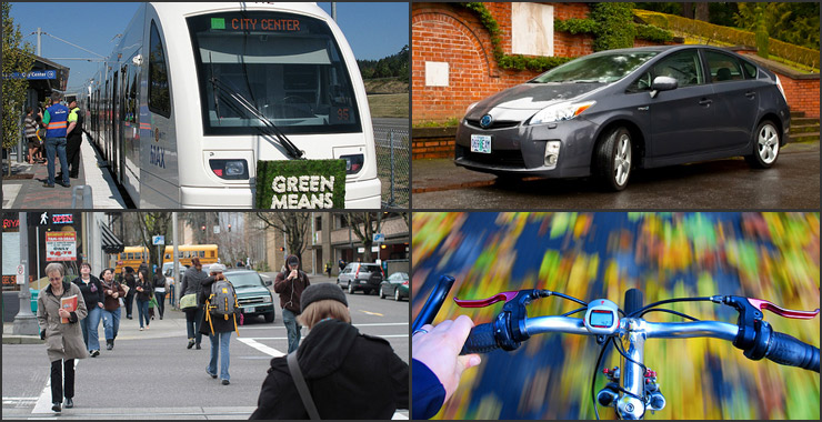 collage of Tri-Met, car sharing, walking and biking in Portland