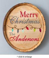 Christmas Wood Barrel Sign - Lights