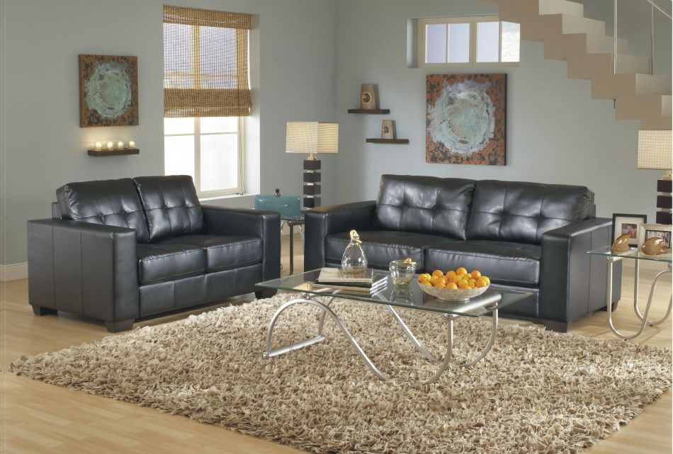2Pc Contemporary Modern Leather Sofa & Loveseat Set, Living Room Furniture 1