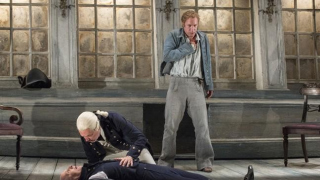 Billy Budd, Glyndebourne Festival 2013. Claggart (Brindley Sherratt), Captain Vere (Mark Padmore) and Billy Budd (Jacques Imbrailo)