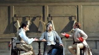 Robert Gleadow as Guglielmo, Pietro Spagnoli as Don Alfonso and Allan Clayton as Ferrando
