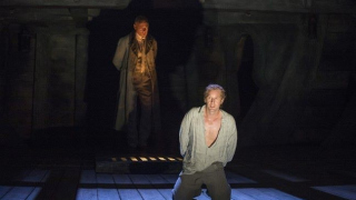 Billy Budd, Glyndebourne Festival 2013. Captain Vere (Mark Padmore) and Billy Budd (Jacques Imbrailo).