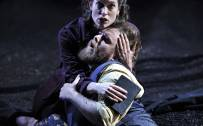 The Rape of Lucretia, Glyndebourne Festival 2015. Female Chorus (Kate Royal) and Male Chorus (Allan Clayton).  Photographer: Robbie Jack