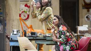 Glyndebourne Festival 2015, L'heure espagnole. Gonzalve (Cyrille Dubois) and Concepción (Danielle de Niese). Photographer: Richard Hubert Smith