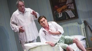 Don Pasquale, Glyndebourne Tour 2015. Don Pasquale (José Fardilha) and Ernesto (Tuomas Katajala). Photographer: Tristram Kenton