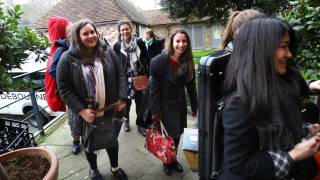 Southbank Sinfonia players arrive at Glyndebourne for their first Nothing rehearsal.