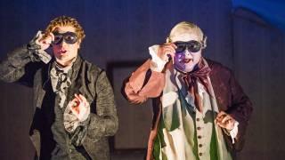 Don Pasquale, Glyndebourne Tour 2015. Dr Malatesta (John Brancy) and Don Pasquale (José Fardilha). Photographer: Tristram Kenton