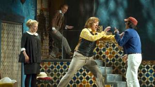 Susanna (Lydia Teuscher), Don Basilio (Alan Oke), Count (Audun Iversen) and Cherubino (Isabel Leonard), Le nozze di Figaro 2012.