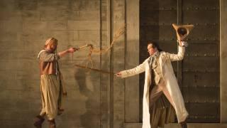 Die Entführung aus dem Serail, Glyndebourne Festival 2015. Osmin (Tobias Kehrer) and Belmonte (Edgaras Montvidas).
