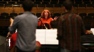 Conductor Sian Edwards led the orchestra as they began work on David Bruce's score.
