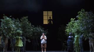 Glyndebourne Festival 2015, L'enfant et les sortilèges.  Child (Danielle de Niese) with Mother (Elodie Méchain) silhouetted in window. Photographer: Richard Hubert Smith