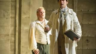 Die Entführung aus dem Serail, Glyndebourne Festival 2015. Pedrillo (Brenden Gunnell) and Belmonte (Edgaras Montvidas).