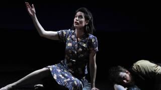 The Rape of Lucretia, Glyndebourne Festival 2015. Female Chorus (Kate Royal) and Male Chorus (Allan Clayton).
