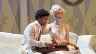 [Der Rosenkavalier 2014. The Marschallin (Kate Royal) and Mohammed (Daniel Francis-Swaby).