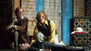 Don Basilio (Alan Oke), Count (Audun Iversen) and Susanna (Lydia Teuscher), Le nozze di Figaro 2012.