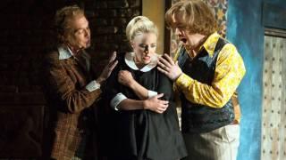 Don Basilio (Alan Oke), Susanna (Lydia Teuscher) and Count (Audun Iversen), Le nozze di Figaro 2012.