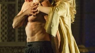 Die Entführung aus dem Serail, Glyndebourne Festival 2015. Pasha Selim (Franck Saurel) and Konstanze (Sally Matthews).
