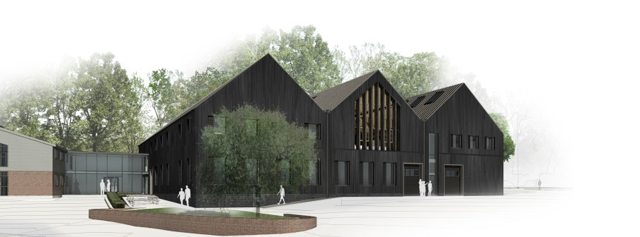 Architect's impression of the new Production Hub which is inspired by a traditional Sussex barn