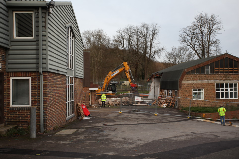 Demolition of the old props workshop at Glyndebourne