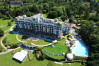 An exterior shot of Evian Royal Resort, French Alps, France