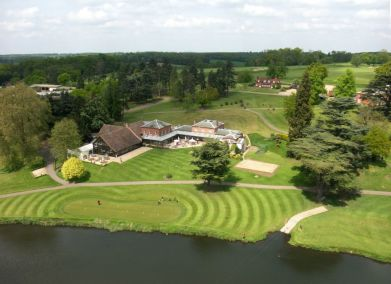 An aerial shot of the Brocket Hall Club House