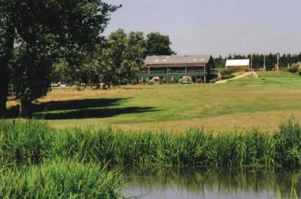 The Canford Magna clubhouse overlooking the course
