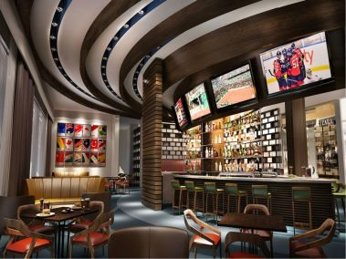 Computer generated image of a sports bar area at Regnum Carya Golf & Spa Resort