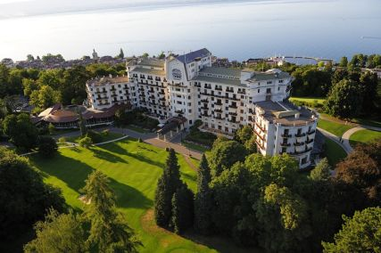 Lovely view of the Evian Royal exterior