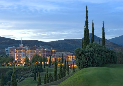 A gorgeous night exterior shot of Villa Padierna Palace Hotel, Costa Del Sol, Spain