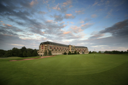 A hotel backdrop for the 12th green on Roman Road Course at Celtic Manor Resort, Wales
