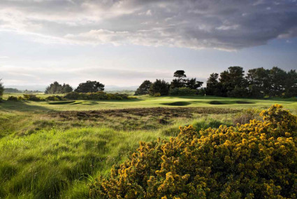 Beautiful undulating landscape at the bunker strewn Irvine Golf Club, Ayrshire, Scotland